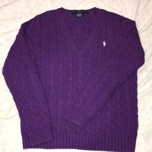 Ralph Lauren Sport Purple Knit VNeck Cotton XL